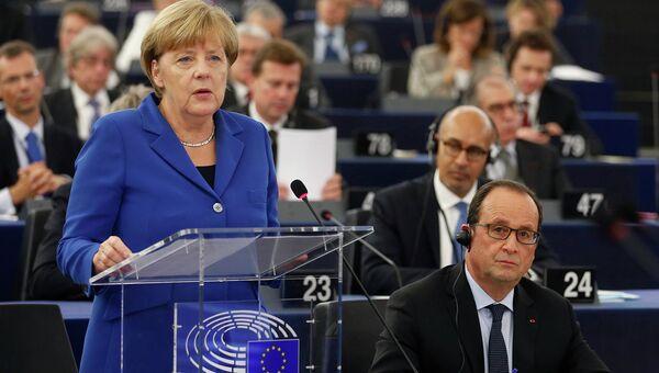 Канцлер Германии Ангела Меркель выступает в Европейском парламенте. Архивное фото