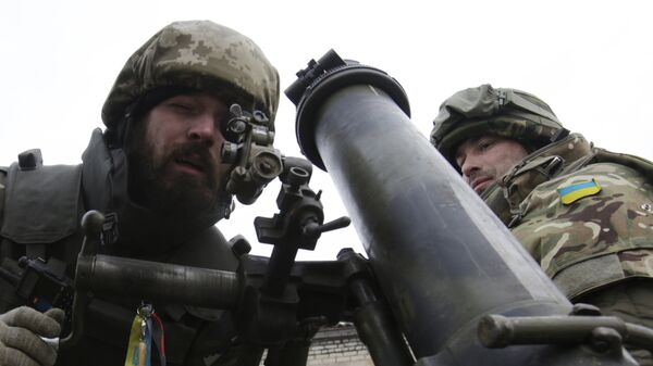 Украинские военнослужащие с минометом. Архивное фото