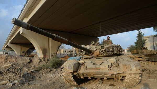 Техника Сирийской Арабской армии в районе Джобар в Дамаске