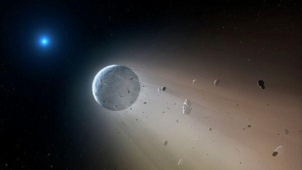 Белый карлик - звезда смерти разрушает летящую к нему планету