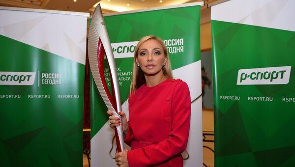 Олимпийская чемпионка по фигурному катанию Татьяна Навка перед церемонией открытия первого Всемирного форума олимпийцев в Москве