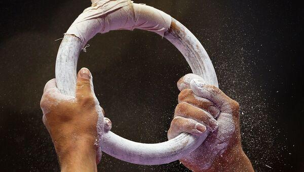 Спортсмен выполняет упражнения на кольцах на соревнованиях по спортивной гимнастике. Архивное фото