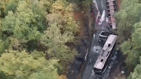 Столкновение пассажирского автобуса и грузовика неподалеку от города Либурн в департаменте Жиронда, Франция