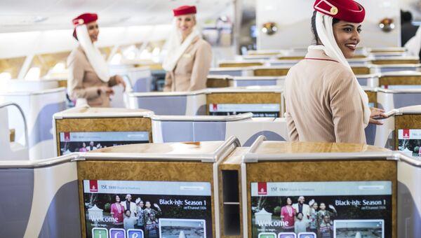 Салон пассажирского самолета Airbus A380-800 авиакомпании Emirates Airline. Архивное фото