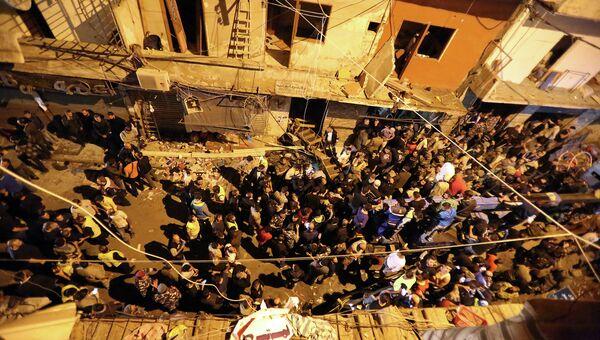 Место двойного теракта в пригороде Бейрута