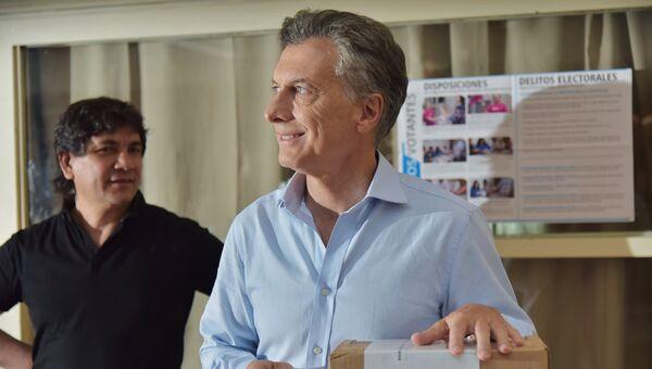 Лидер оппозиционной консервативной партии Республиканское предложение Маурисио Макри во время второго тура президентских выборов в Аргентине