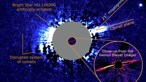 Планета HD 106906b и диск из комет в окрестностях звезды в созвездии Южного Креста