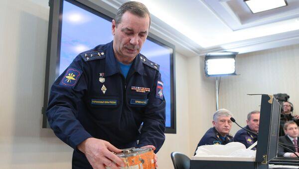 Брифинг представителей министерства обороны России в связи с началом процедуры считывания и дешифрации информации бортовых самописцев самолета Су-24М, сбитого 24 ноября 2015 года над Сирией. 18 декабря 2015
