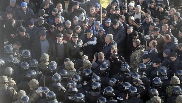 Митинг украинских фермеров у парламента Украины. 24 декабря 2015 года