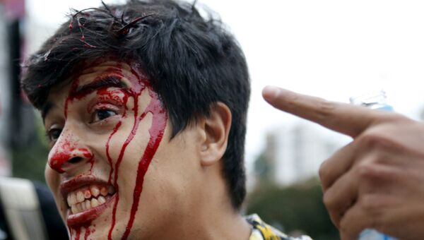 Пострадавший в результате беспорядков в бразильском Сан-Паулу