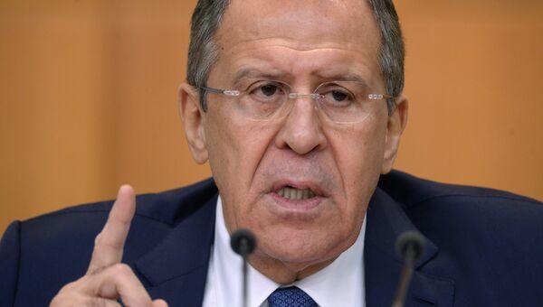 Пресс-конференция министра иностранных дел РФ С. Лаврова. Архивное фото