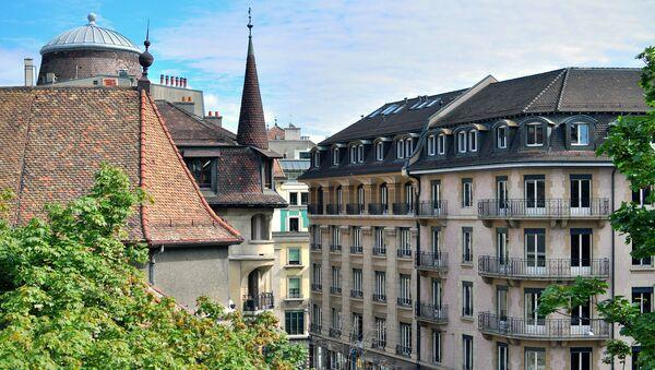 Вид на центр Женевы, Швейцария. Архивное фото