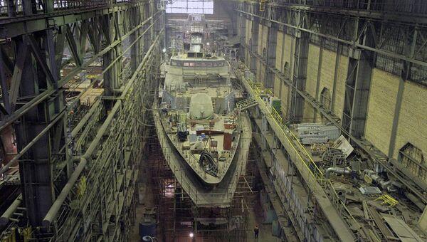 Строительство корвета Гремящий на судостроительном предприятии ОАО Северная верфь