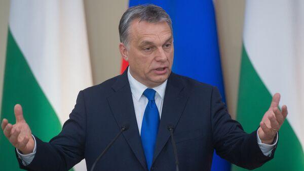 Премьер-министр Венгрии Виктор Орбан во время совместной с президентом России Владимиром Путиным пресс-конференции в подмосковной резиденции Ново-Огарево