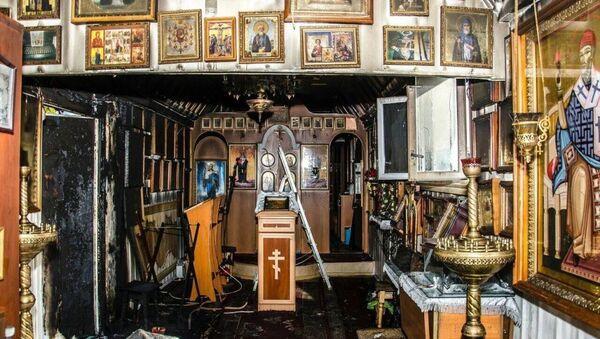 Храм в честь иконы Божией Матери Утоли моя печали в городе Николаев Львовской области после поджога