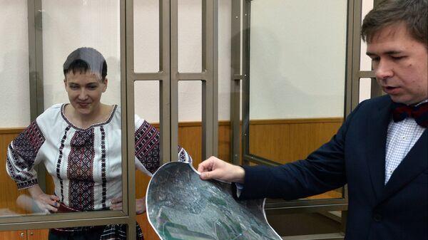 Адвокат Илья Новиков выступает на судебном процессе в качестве защитника гражданки Украины Надежды Савченко