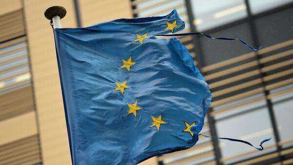 Флаг Евросоюза в Брюсселе, Бельгия. Архивное фото
