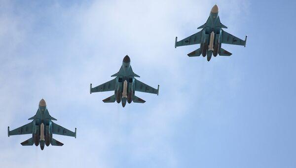 Вылет самолетов ВКС с авиабазы Хмеймим в пункты постоянного базирования на территории России. Архивное фото