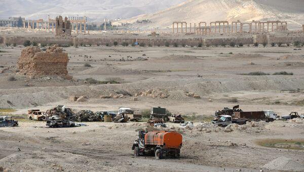 Уничтоженные в ходе боевых действий автомобили в исторической части Пальмиры. Архивное фото