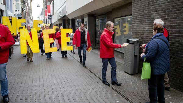 Демонстрация перед референдумом в Гааге, Нидерланды
