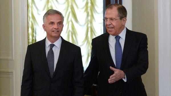 Министр иностранных дел РФ Сергей Лавров и Дидье Буркхальтер. Архивное фото