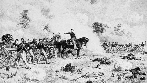 Битва при Геттисберге во время гражданской войны в США. 4 июля 1863