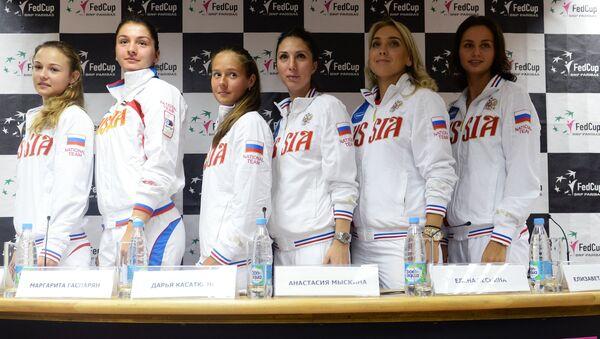 Женская сборная России по теннису в преддверии матча Кубка Федерации 2016 между сборными командами России и Белоруссии