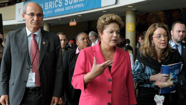 Президент Бразилии Дилма Русеф перед заседанием саммита лидеров БРИКС