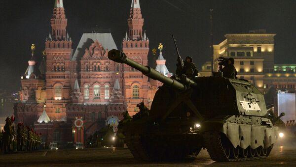 САУ Коалиция-СВ во время репетиции военного парада в Москве