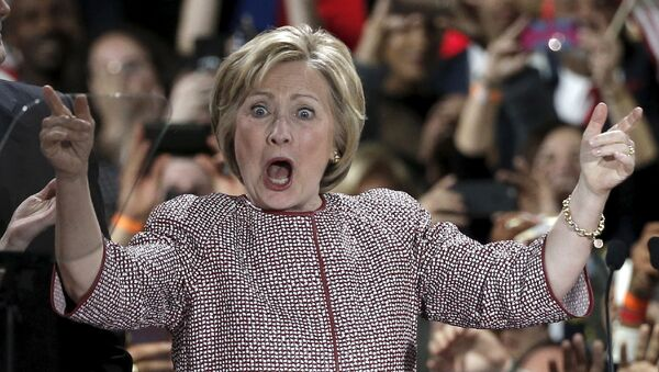 Кандидат в президенты Хиллари Клинтон во время предвыборного выступления в Нью-Йорке, США