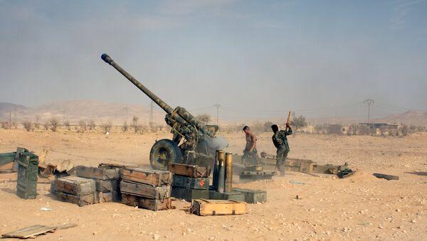 Сирийские военнослужащие ведут обстрел позиций исламистов в окрестностях города Тадмор. Архивное фото