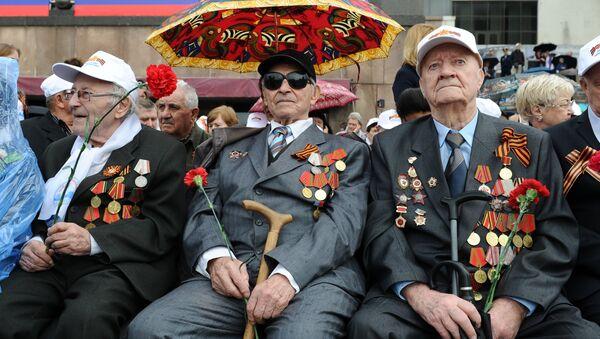 Ветераны Великой Отечественной войны во время военного парада на Красной площади. Архивное фото