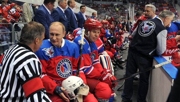 Президент РФ В. Путин принял участие в гала-матче турнира Ночной хоккейной лиги