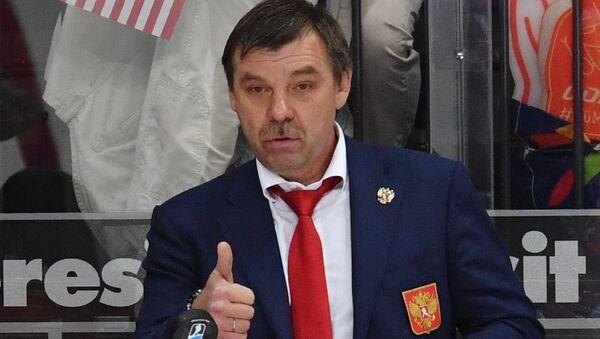 Главный тренер сборной России Олег Знарок в матче за третье место чемпионата мира по хоккею между сборными командами России и США