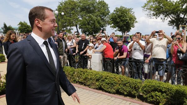 Председатель правительства РФ Дмитрий Медведев во время рабочей поездки в Крымский федеральный округ