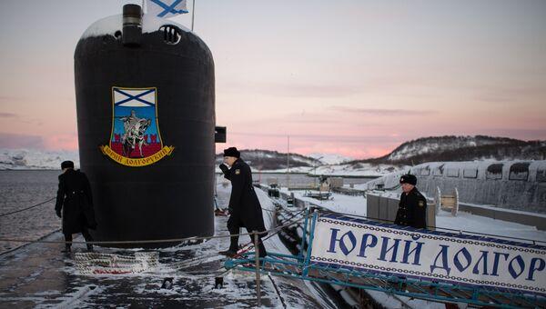 Атомная подводная лодка Юрий Долгорукий Северного флота ВМФ России на причале в Гаджиево Мурманской области. Архивное фото