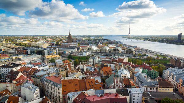 Вид Старого города в Риге, Латвия