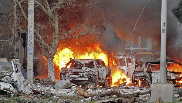 Последствия взрыва в сомалийской столице Могадишо