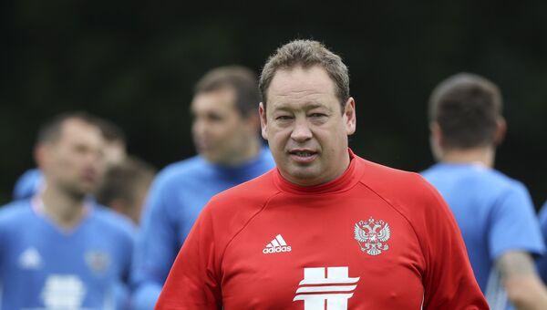 Главный тренер сборной России Леонид Слуцкий на тренировке команды в Бад-Рагаце перед товарищеским матчем с Сербией.