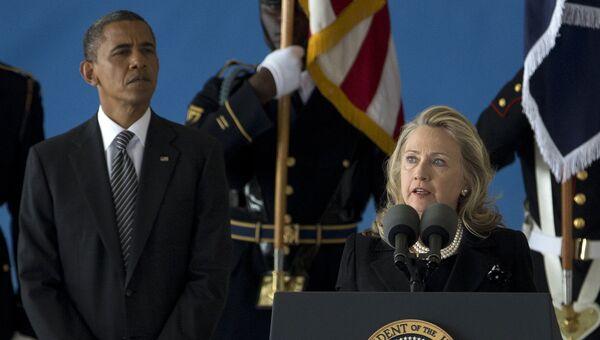 Президент США Барак Обама и экс-госсекретарь США Хиллари Клинтон. Архивное фото
