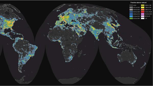 Карта светового загрязнения мира