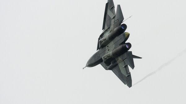 Истребитель Т-50 во время всероссийского этапа международного конкурса Авиадартс-2016. Архивное фото