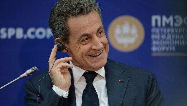 Экс-президент Франции Николя Саркози выступает на XX Петербургском международном экономическом форуме