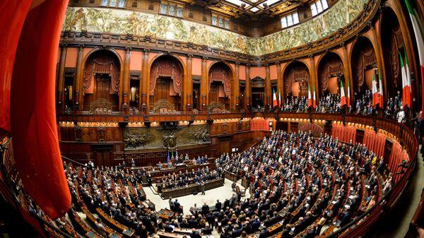 Заседание Палаты депутатов итальянского парламента в Риме