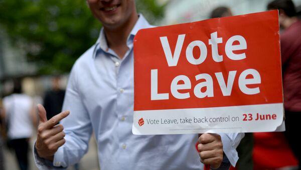 Волонтер на улице Манчестера с агитационным плакатом за выход Великобритании из ЕС
