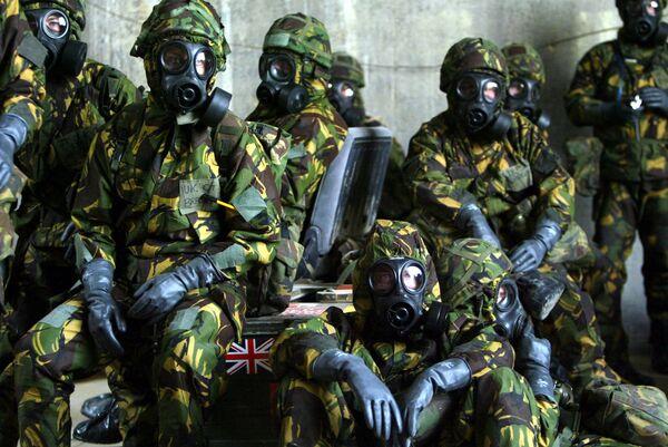 Британские военные в бункере военной базы в Кувейте