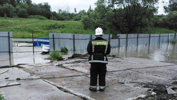 Ситуация после шторма на временном мосту через р. Дудерговка