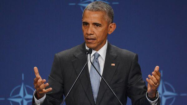 Президент США Барака Обама выступает на саммите НАТО в Варшаве.