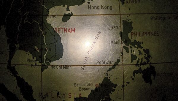 Южно-Китайское море на глобусе