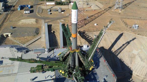 Ракета-носитель Союз-У на стартовом комплексе площадки №31 космодрома Байконур